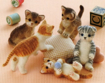 Needle Felt Cute Cats- Japanese Craft Book- Wool felting ebook- Needle Felted Cats Pattern- Kawaii eBook- Kitty Plushie-PDF-Instant Download