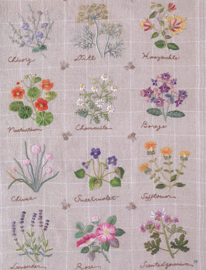 Embroidery patterns  botanical  herb embroidery  japanese image 0