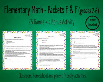 28 Primary Math Games to Practice Basic Math Facts - Packets E & F | Elementary Math Games