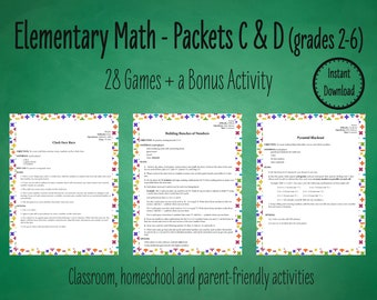 28 Primary Math Games to Practice Basic Math Facts - Packets C & D | Elementary Math Games