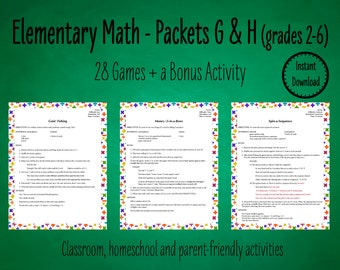 28 Primary Math Games to Practice Basic Math Facts - Packets G & H | Elementary Math Games