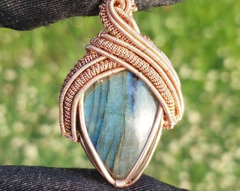Labradorite Copper Wire Wrapped Pendant with a Kyanite Accent Stone