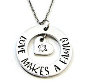 Adoption Necklace, Love Makes a Family Necklace, Hand Stamped Jewelry, Adoptive Family Gift, Adoption Day, Gotcha Day, Adoption Symbol
