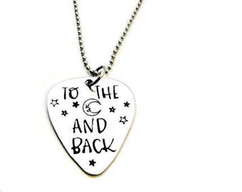 To the Moon and Back Necklace, Hand Stamped Jewelry, Celestial Jewelry, Guitar Pick Pendant, I Love You Necklace, Moon & Stars, Gift of Love
