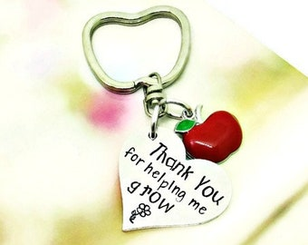 Teacher Gift, Thank You For Helping Me Grow Keychain, Hand Stamped Gift, Daycare Provider, Teacher's Assistant, Paraprofessional Apreciation