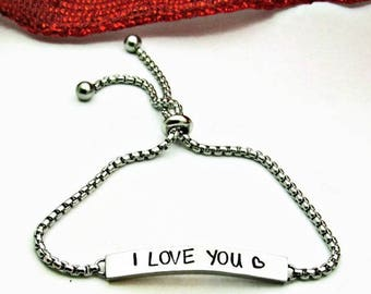 Personalized Bar Bracelet, Hand Stamped Jewelry, Name Bracelet, Adjustable Nameplate Bracelet, Custom Jewelry, I Love You Bracelet, Bolo
