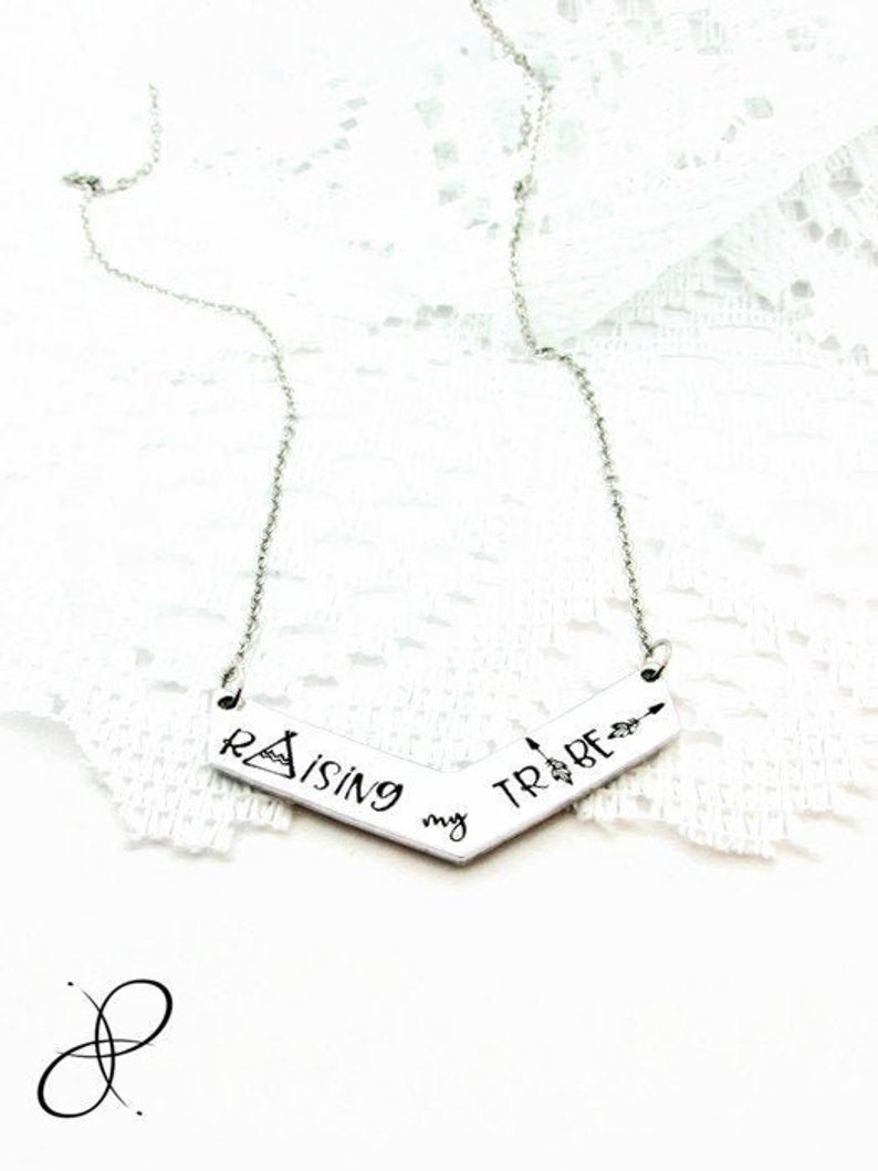 Raising my Tribe Necklace Boho Mother Gift Mother/'s Necklace Family Jewelry Chevron Foster Mom Hand Stamped Jewelry Psalm 127: 3-5