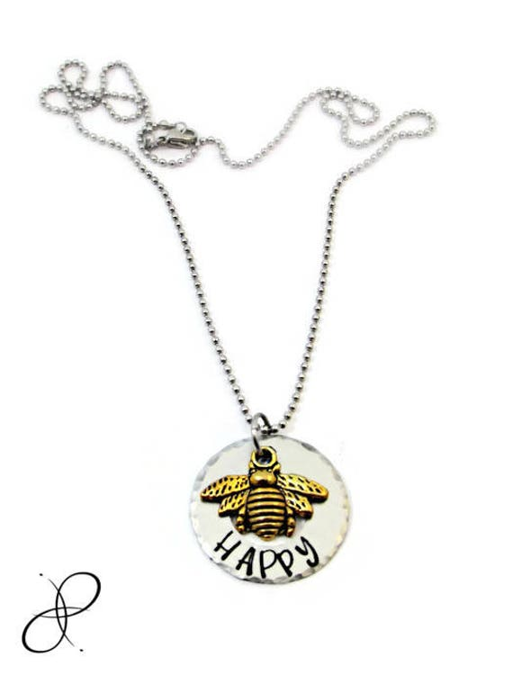 Bee Happy Necklace Be Happy Necklace Hand Stamped Jewelry