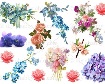 Furniture Decals Shabby Chic French Image Transfer Vintage Floral Flower  Forget Me Not Rose Antique Art Crafts Scrapbooking Card Making Diy