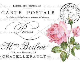 Superieur Furniture Decal Shabby Chic French Image Transfer Vintage Typography Pink  Rose Label Recycle Upcycling Art Crafts Scrapbooking Card Making