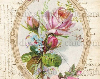 Furniture Decals Shabby Chic French Image Transfer Vintage Floral Rose  Frame Pink Old Home Craft Label Script Diy Scrapbooking Card Making