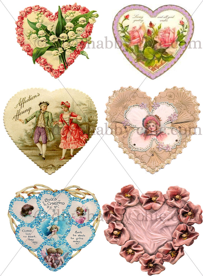 Furniture decals shabby chic french image transfer vintage valentines red  heart love rose antique art crafts scrapbooking card making diy