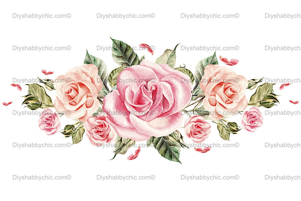 Waterslide Furniture Home Decal Vintage Image Transfer Glass Rose Chic Antique