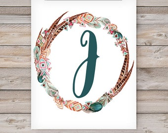 Printable Monogram Wall Art - J
