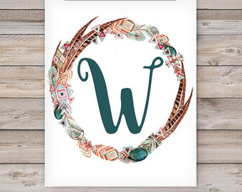 Printable Monogram Wall Art - W