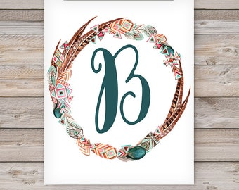 Printable Monogram Wall Art - B