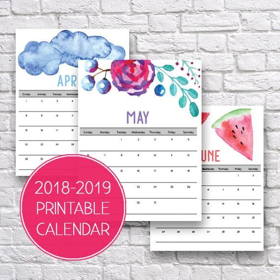 2018 2019 Calendar 2018 19 Monthly Calendar Watercolor Etsy