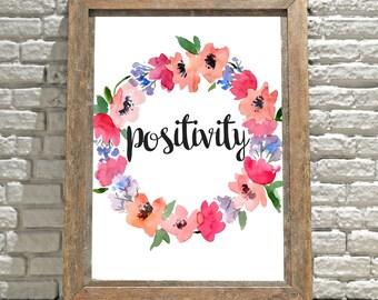 Motivational Sign, Positivity Sign, Wall Decor, Wall Hanging, Art, Digital Download, Instant Download, Digital Print, Positivity, Home Decor