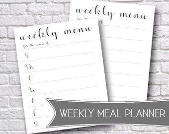 Printable Weekly Meal Planner, Meal Plan Organizer, Grocery Shopping List, Digital Download, Printable Stationery, Weekly Meal Planner
