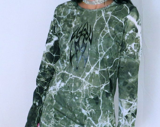 GRIMES green marble with tribal print long sleeve T-shirt