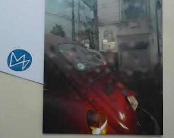 Postcard Auto, offset printing , analogue photography