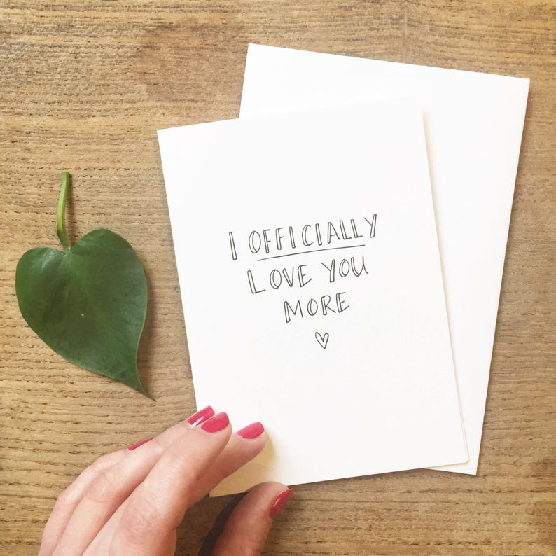 Hand-Lettered anniversary card  I officially love you more image 0