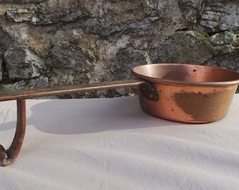 Copper Ladle Copper Pan Chocolate Melting Big Ladle with Stablizer Massive French Antique Copper Artisan Hand Made Copper From France