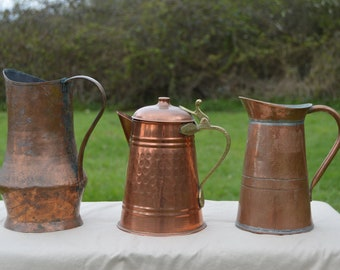 Job Lot Old Restaurant Batterie 2 Pitchers 1 Coffee Pot Unrestored Sold As Found Unpolished Dents Quality Copper DIrect from France
