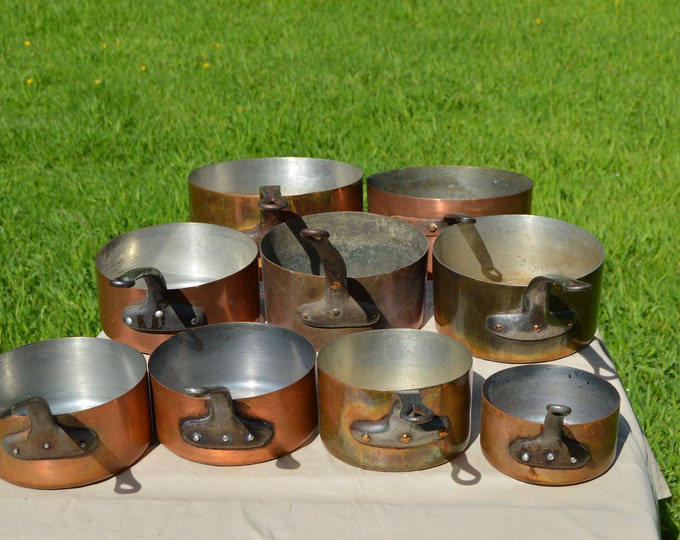 Job Lot 9 Copper Pans French Copper Pans Unrestored Sold As Found Unrefurbished Unpolished Well Used Scratches Varying Ages