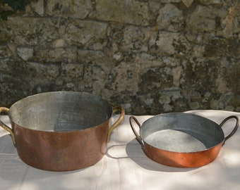 Gratin Pan and Rondeau Copper Pans Sold As Found Unrefurbished Unpolished Bargain Pans Scratches Copper with Tin  Lining with Tin Lining