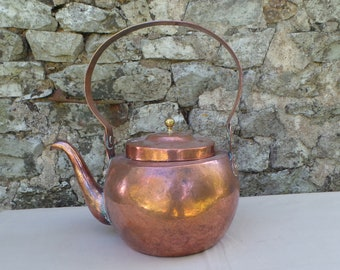 Copper Kettle French Made Bouloire Antique Copper Black Interior Well Used Handle Thick Mounts Brass Fineal Blocked Spout