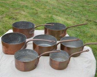 Seven 7 Copper Pans 0.7-1.7mm Bistro Style Unmatched Unrestored Unpolished Well Used Missing Tin Scratches Antiquity Set Cast Iron Handles