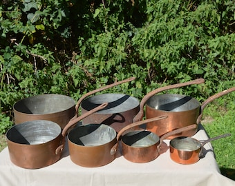 Job Lot 7 Copper Pans Old Restaurant Batterie Copper Pans Unrestored Sold As Found Unrefurbished Unpolished Well Used Scratches
