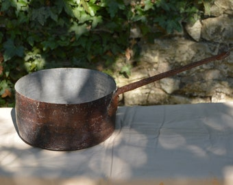 "Antique Copper Pan 1.2mm Copper Saucepan Unrestored Sold As Found Unrefurbished Well Used 24cm 9 1/2"" 1.8 Kilos 4lbs 2.8oz Quality Copper"