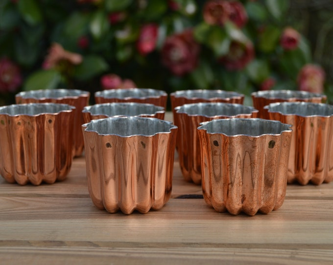 Ten Canneles 5.5 cm 2 1/4 in 10 New Old Stock Factory Seconds Tin Lined Copper Bordeaux Caneles Cake Molds Clearance Job Lot FREE SHIPPING