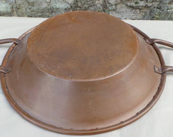 """Copper Tourtiere Au Gratin Pan Pie Dish Copper Roasting Dish Big Handles 32cm 12"""" Antique Quality French Copper Pan Direct From France"""
