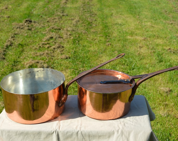 23cm and 26 cm New Tin Lined French Copper Pans True French Antique Copper Pans Unrestored Handles 1.3mm Quality Antique Copper Pans