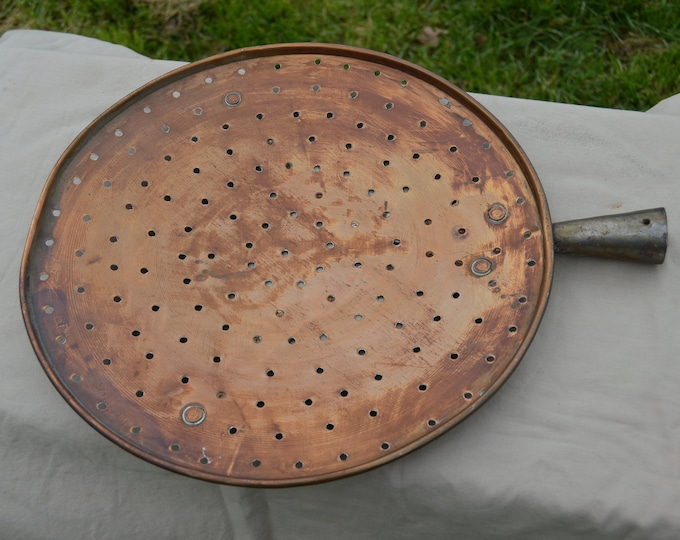 Antique French Copper MASSIVE Sieve Copper Pan Fruit Flat Colander Jam Sieve Rich Patina Dark French Quality Copper Direct From France