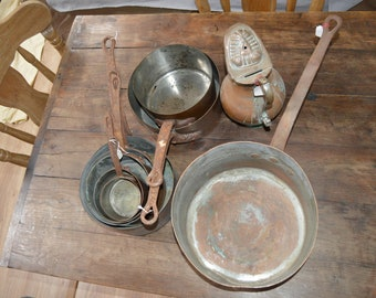Reserve E SET 2 Job Lot 7 Copper Pans Old Restaurant Batterie Jug, Matfer Pan Unrestored Sold As Found
