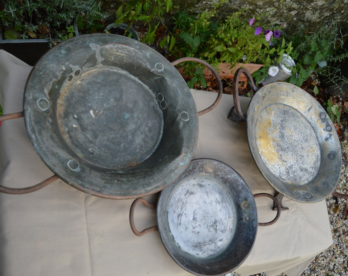 Job Lot 3 Tourtieres Gratins Antique Copper Pans French Copper Pans Unrestored Sold As Found Unrefurbished Unpolished Well Used Scratches