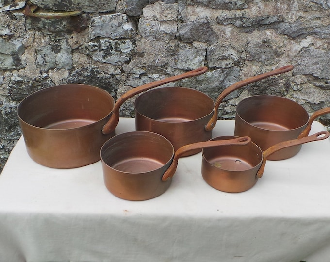 Five Copper Pans Graduated Copper Pans Unlined Unrestored Sold As Found Unrefurbished, Unpolished Well Used Scratches Great Quality Set