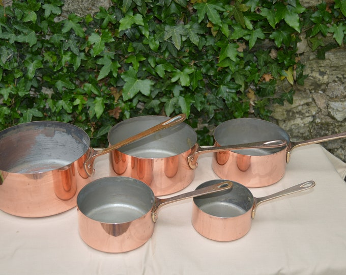 5 Five French Quality Vintage Graduated Copper Pans 1mm Unrestored Dark Tin Wear Bronze Handles 10cm-18cm Quality Copper Direct From France