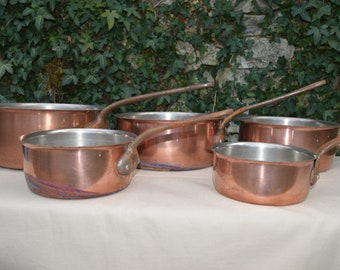 Copper Stainless Steel Pans Five 1.3mm Graduated Pans Missing Copper Sold As Found Unrefurbished Unpolished Scratches Direct From France