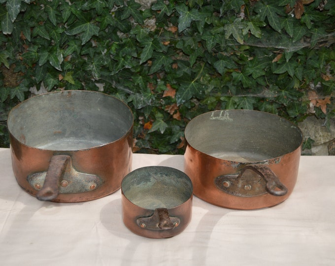 Three Antique Pans 12cm, 21cm and 22cm Tin Lined French Copper Pans Unrestored Collected 1.1-1.2mm Quality Pans Direct From France