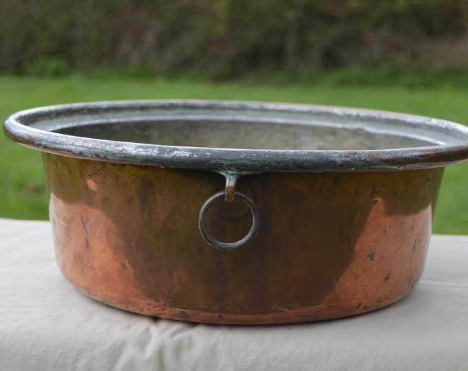 Antique BIG Copper Pan Dough Pan Ring Handle Copper Pot Bowl Seau Bassine True Antique Patina Unpolished Unrestored Direct From France