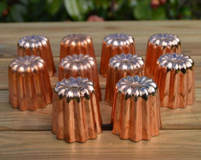Ten Canneles 4.5 cm 1 3/4 in 10 New Old Stock Factory Seconds Tin Lined Copper Bordeaux Caneles Cake Molds Clearance Job Lot FREE SHIPPING