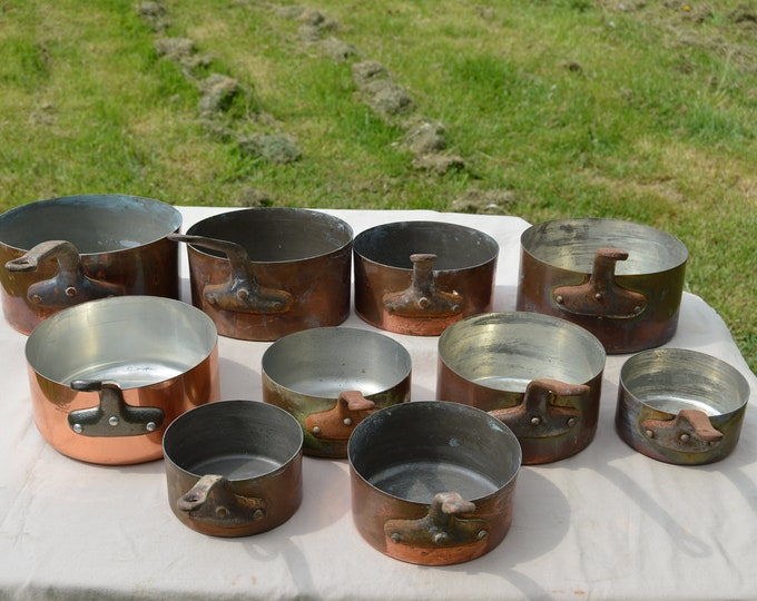 Job Lot 10 Copper Pans French Copper Pans 12cm-20cm Unrestored Sold As Found Unrefurbished Unpolished Well Used Scratches Direct From France