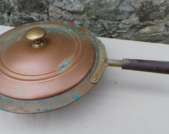 "Vintage Copper Pan Tiel Holland Saute and Lid Poacher Pot 27cm 10 1/4"" Unrestored Well Used Tin Lined Copper Pan with Wood Handle Dutch Pan"