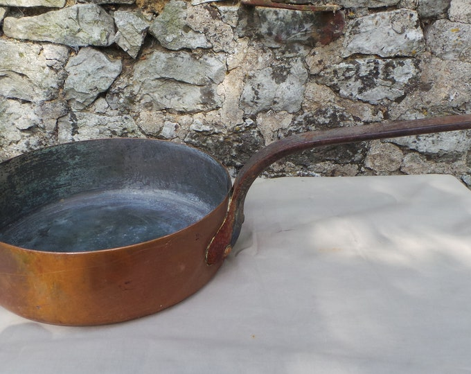 "Antique 1.6mm Copper Pan Saute 24cm 9 1/2"" Unrestored Well Used Seasoned Tin Copper Sauteuse Quality Copper Direct From France"