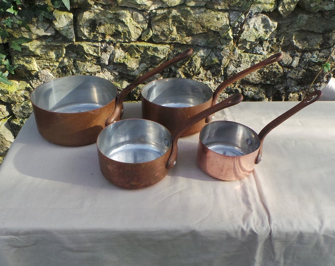 Copper Pans Four Graduated Tupperware Dents Unrestored Sold As Found Unrefurbished Unpolished Well Used Scratches Great Quality Set